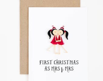 our first christmas as mrs and mrs card - lesbian couple card - christmas 2017 lgbt pride card - gay christmas card -newlywed christmas card
