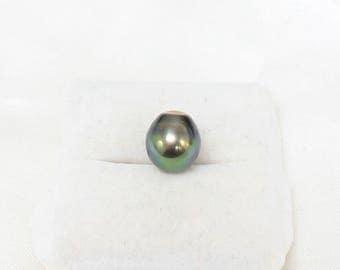 Tahitian Pearl 12.6mm x 11.2mm Genuine Silver Peacock Green Loose Drop Pearl Brilliant Luster