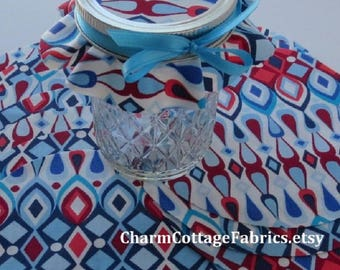 """5.5"""" Cotton Circles Shades of Blue, Red, and White 100% Cotton Jam Jar Covers Mason Gift Jar Toppers"""