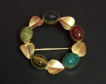Scarab Beetle Pin, Ojar Gold Filled Leaf and Scarab Brooch