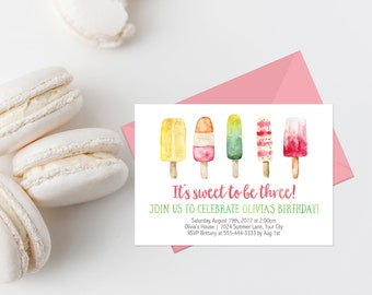 Popsicle Birthday Party Invitation Printable Summer Birthday Party Invites Personalized Birthday Number It's Sweet To Be Three Birthday