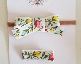 Vintage tulip bow. You choose! Headband or hair clip