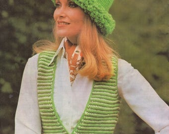 Crochet Pattern PDF Womens Waistcoat and Hat