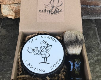 LAVENDER CEDARWOOD Shaving Soap Kit, Handmade Soap, Cold Process Soap, Shaving Brush