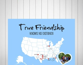 Best Friends Long Distance Map, Going Away Gift for BFF, Sister Gift, Birthday Gift for Best Friend, Two-State Map Canvas - 49477
