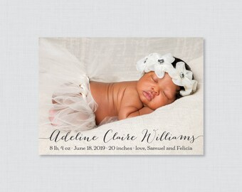Printable or Printed Photo Birth Announcement Cards with Name in Script, Elegant Birth Announcement, Horizontal/Landscape Photo BA12