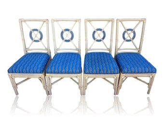 VVH Vintage Set Of Four (4) McGuire Style Rattan Target Back Chairs Coastal  Side