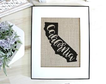 California wall art, California map, California print, California gift, California sign, home state sign, California decor, California print
