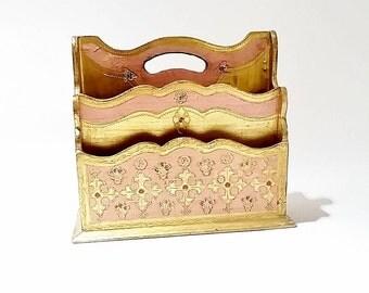 Florentine Desk Caddy, Makeup Organizer, Mail Organizer, Vintage Mail Organizer Desk