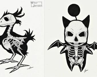 "Skeleton Moogle/Chocobo - Original Final Fantasy Video Game Art Print 8"" x 10"" or 5""x7"""