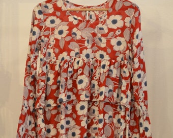 Ruffled Floral Blouse - Bell Sleeves - Red Shirt with White Flowers - Rayon Shirt  - Boho blouse -Hippie style Top