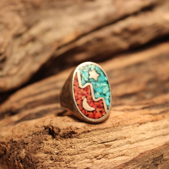 Vintage Mens Sterling Silver Ring Navajo Native American Heavy 15.8 grams Size 11.5 Mens Silver Navajo Turquoise Coral Ring Mens Silver Ring