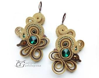 Large Soutache Earrings gold tone Statement earrings Summer jewelry Elegant earrings Green crystal jewelry Gold tone soutache