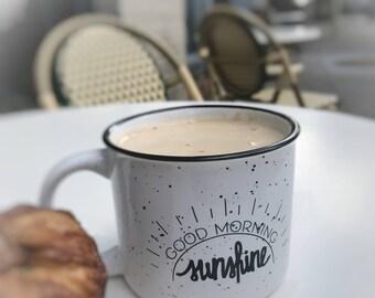 Campfire Mug - Coffee Mug - Black and White Campfire Mug - Coffee Gift - Good Morning Sunshine