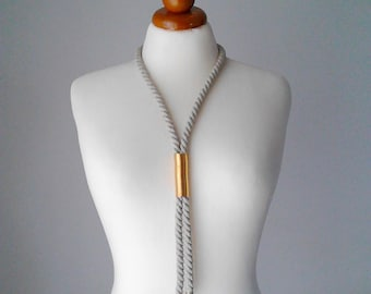 Cord necklace cord jewelry rope necklace rope jewelry tube necklace brass necklace copper necklace minimal necklace minimal jewelry beige
