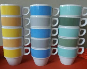 Per set/5, pastel coffee cups, mosa pastel, mosa Maastricht, stackable coffee cups, mid century porcelain, 60s crockery, retro camping