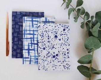 Set of 3 Notebooks, 3 x A6 Notebooks, Blue & White Notebooks, A6 Ink Pattern Notebooks, Journal, Sketchbook