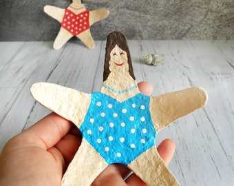 Blue Ring Dish, Jewelry Tray, Woman Figure Dish, Creative Gift, Paper Mache Dish, Lovely Gift, Blue Ring Holder, Cute Gift, Starfish Tray