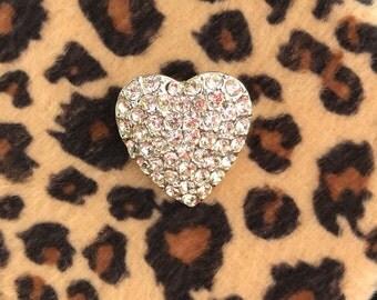 Heart Rhinestone Brooch // Valentine Sparkle Heart // Clear Rhinestone Silver Heart Pin // Glamour Heart Brooch // 90s Vintage Heart