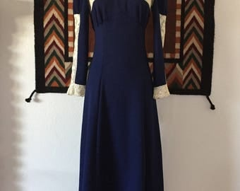 1970s Vintage Navy Blue and Lace Empire Waist Maxi Dress