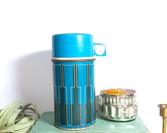 vintage king seeley blue metal thermos - 1971 - half pint
