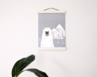 White wood poster hanger, white poster hanger, support for illustrations, print frame, photo wallets wood, to hang illustration, slats frame