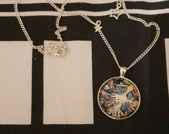 Doctor Who Van Gogh Exploding TARDIS Painting | Necklace with Star Charms