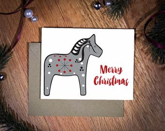 Merry Christmas | God Jul | A2 | Christmas Card | Scandinavian | Dala Horse | Swedish Christmas
