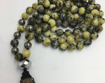Yellow Turquoise Hematite Hand Knotted Prayer Mala with a Lovely Bell
