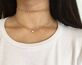 GOLD NECKLACE DAINTY - gold necklace pendant - gold necklace charm - heart necklace - heart pendant - friendship necklace - bridesmaid gift