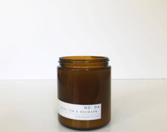 Soy Candle / No. 04 / Basil. Fig. Rhubarb.  / 8 oz Soy Wax Candle / Hand Poured / Scented Soy Wax / Amber Jar /