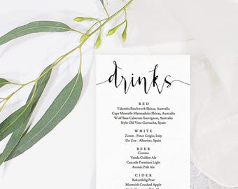 Wedding drinks menu, Wedding drink menu template, Drink menu wedding template, Rustic drink decor, Wedding drink menu printable,