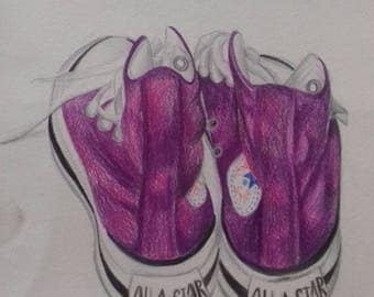 Converse Boots Original Coloured Pencil Sketch/Drawing