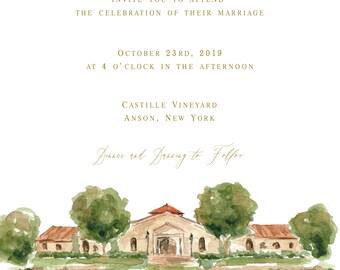 Custom Watercolor Venue Illustration Painting for Invitations, Keepsake, Wedding Gift, Wedding Invitations