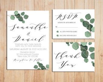 Greenery Wedding Invitation Printable Wedding Invitations Eucalyptus Wedding Invitation Greenery Invitation Botanical Invitation Set Leaf