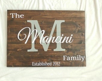 Last Name Wood Sign, Family Name Sign, Personalized Sign, Home Decor, Wedding Gift, Wood Sign, Housewarming Gift, Wood Wall Art, Wall Decor