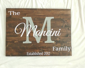 Wood Sign, Last Name Signs, Wall Signs, Initial Signs, Family Name Signs, Last Name Sign Established date, Last Name Initial Signs