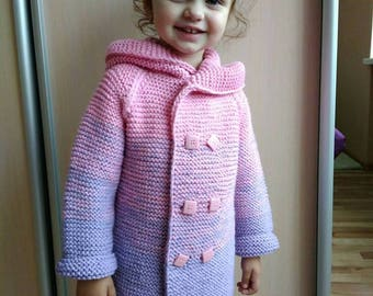 Knit sweater with hood, Long cable knit coat, Kids cardigan, Girls cardigan, Warm and cute cardigan for girls, Knitted cardigans for girls