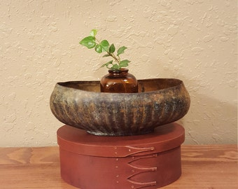 Vintage brass 9 inch oval planter.  Rustic handmade vintage planter with a heavy patina and oxidation.