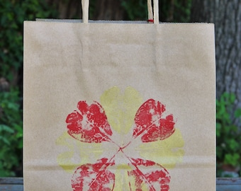 Magnolia Gift Bags (Set of 3) Red & Gold