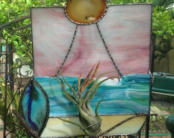 Homemade Original Stained Glass Plant Holder California Dreaming