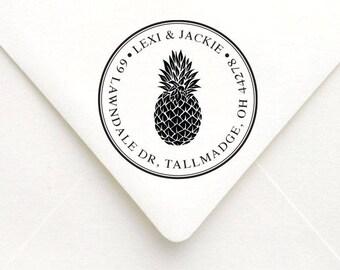 Custom Pineapple Return Address Stamp, Pineapple Wedding Stamp, Personalized Round Pineapple Address Stamp, Housewarming Gift