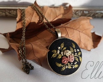 Embroidered pendant Bronze jewelry her Embroidery jewelry Second anniversary gift Floral necklace Eco pendant Flower wife jewelry Unusual