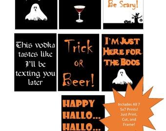 Printable Halloween Party Print, Set of 7 - 5x7 Prints, Halloween Party Sign, Drinking, Adult Halloween Party, Halloween Sign, Office Party
