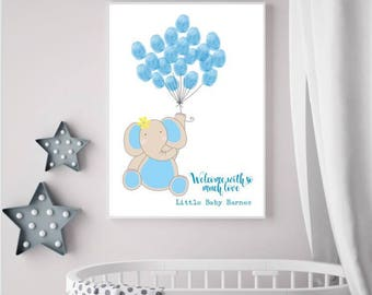 Elephant Fringer Print Balloon - Baby shower/Christening/Guest Book/Wall Decor/Baby Keepsake/Nursery Decor Print