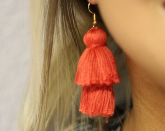 Coral Tiered Lightweight Tassel Earrings by TheCourtCo