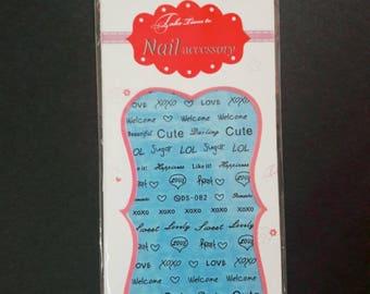 Nail Sticker, nail decal, water decal, Nail decoration, Nail accessory, Nail lettering,