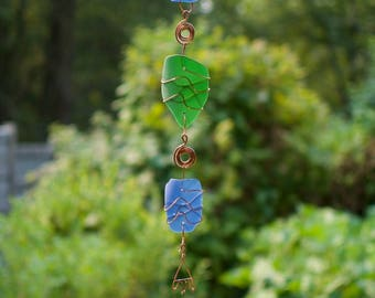 Sun Catcher Beach Glass Wind Chimes Outdoor Handcrafted Windchimes
