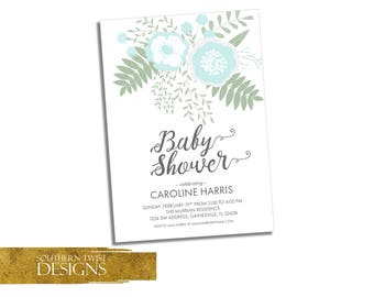 Floral Baby Shower Invitation - Floral Baby Shower Invitation Blue - Blue Flower Baby Shower Invitation - Boy Baby Shower Spring Invitation