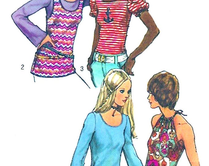 70s halter top summer tops knit style vintage sewing pattern Simplicity 9930 Size 10
